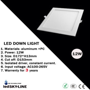 Ce & RoHS Passed 12W Super Thin LED Panel Light with External Driver