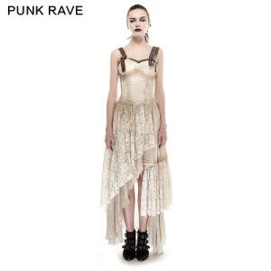 Q-291 Latest Steampunk Lace Do Old Dress Kaftan Linen Long Condole Belt Dress pictures & photos