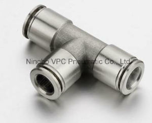 Brass Nickel Plated Equal Tee Push in Connectors pictures & photos