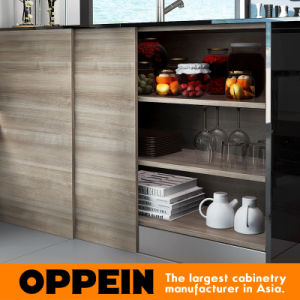Modern New Design Melamine Lacquer Wooden Open Kitchen Cabinets (OP16-M05) pictures & photos