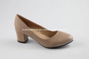 Block Heel Womens High Heels with Contrast PU Upper pictures & photos
