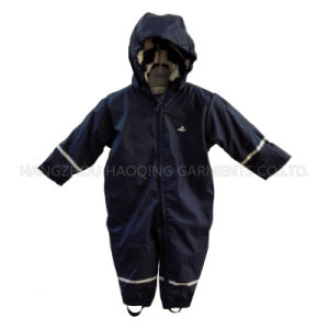 Solid Dark Blue Reflective Waterproof PU Jumpsuit pictures & photos