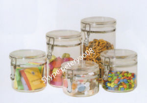 Glass Storage Jar with Glass Lid pictures & photos