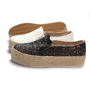 Women Hemp Rope Canvas Shoes with Shine Sequin pictures & photos