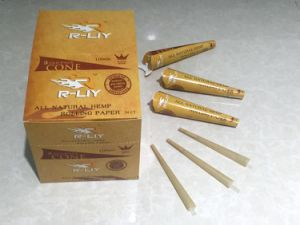 King Size110mm Natural Unrefined Hemp Cone Rolling Paper