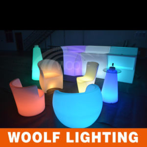 Rotating Plastic Hotel Restaurant LED Light Dining Chair pictures & photos
