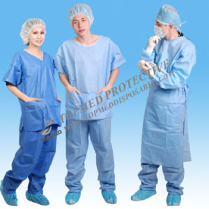 SMS Steriled Surgical Gown, Disposable SMS Reinforced Nonwoven Gown pictures & photos