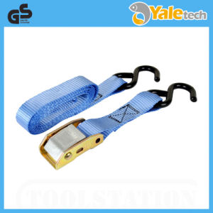 TUV/GS Certified 600kg Polyester Ratchet Straps with Black Coated S Hooks pictures & photos