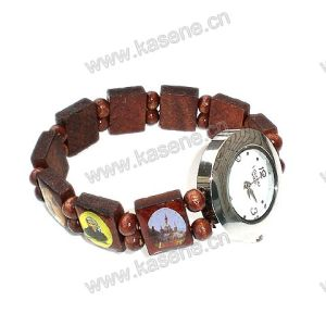 New Style Wood Bracelet Fashion Wrist Watch with Saint Picture