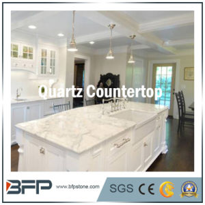 China Polished Engineered Artificial White Quartz Stone for Kitchen Countertop pictures & photos