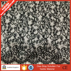2016 Tailian High Quality Black Embroidery Lace Fabric pictures & photos