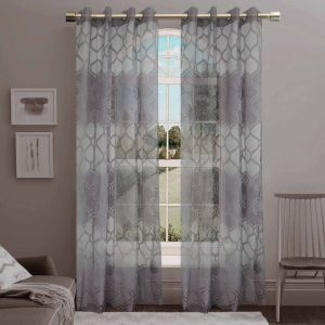 Jacquard Sheer Grommet Panel Window Curtain (HR14WT078) pictures & photos