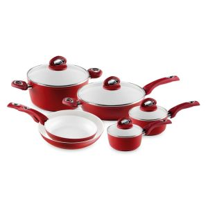 Fashion Home Basic Red 10 Piece Cookware Set Induction Bottom pictures & photos