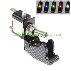 12V 20A Car Truck Carbon Fiber LED Toggle Switch Light Racing Spst 5 Colors Car Auto Cover Toggle Switch Rocker Control pictures & photos