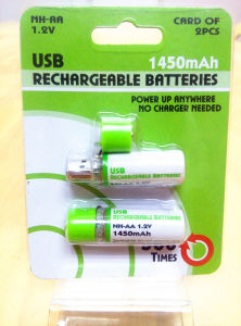 Rechargeable NiMH 1.2V 1450mAh USB Battery pictures & photos