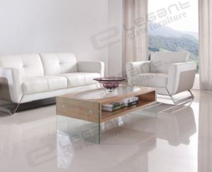 Noval MDF Coffee Table with Oval Glass on The Top pictures & photos