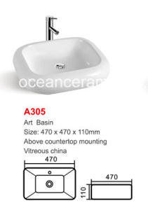 Square Washing Art Basin Bathroom Sink No. A305 Size 470mm pictures & photos