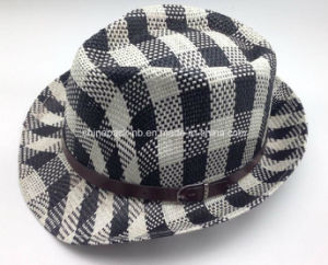 Stiff Black with White Paper Straw Fedora Hats (CPA_60238) pictures & photos