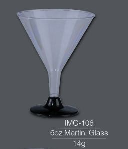 6oz Clear Plastic Martini Glassess / Cups - Black Bottom pictures & photos