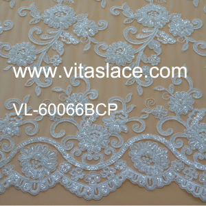 Manufacture Rayon Corded &Beaded Wedding Lace Fabric Vl-60066bcp pictures & photos