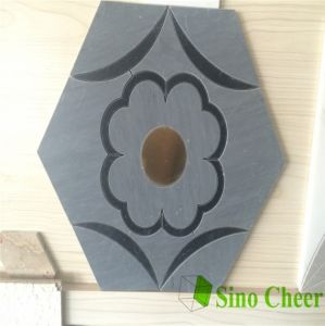 Grey Flower Shaped Hexagon Design Water Jet Mosaic Tile pictures & photos