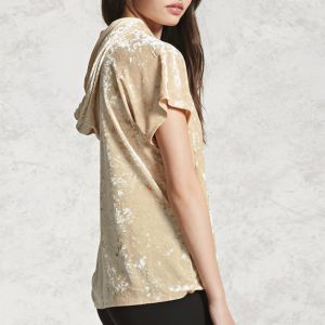 Ladies Fashion Short Sleeves Velvet Hoodies T-Shirt Blouse pictures & photos