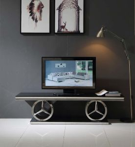 Hot Design Mirror Silver TV Stand with Black Glass Top pictures & photos