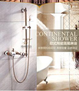 New Design Ceramic Double Handle Zf-605-1 Antique Brass Rain Shower Set pictures & photos