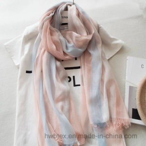 Soft China Supplier Woven Stripe Linen/Cotton Thin Scarf (HWBLC030) pictures & photos