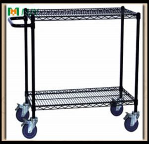 Approved Black Wire Shelving Shelf with Casters pictures & photos