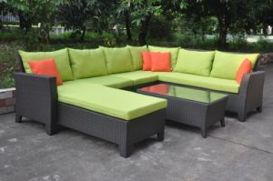 Popular New Design Combination PE Rattan Sofa with Garden Sofa