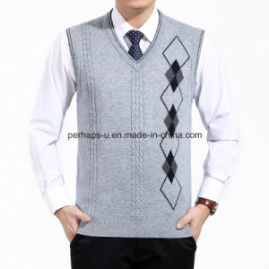 Autumn Men Knitted Wool Vest V-Neck Business Casual Sweater pictures & photos