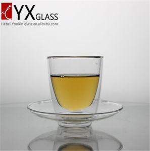 200ml Borosilicate Double Wall Glass Tea Cup with Saucer pictures & photos