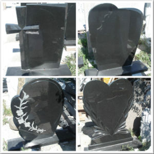 China Shanxi Black Granite Diamond Carved Upright Tombstone pictures & photos