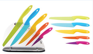 5PCS Colorful Stainless Steel Knife Set with acrylic Base pictures & photos