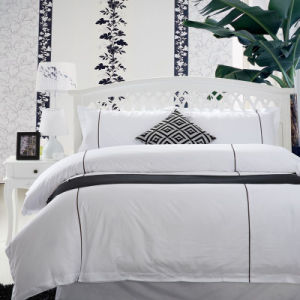 Luxury White Plain Embroidered Bedding Set /Embroidery Bedding for Hotel (WS-2016048)