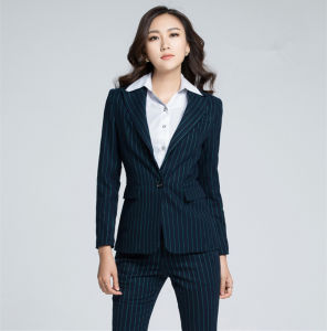 High Quality Fashion Stripe Suit Business Lady Blazer pictures & photos