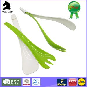 BPA Free Plastic 2 in 1 Salad Cutlery pictures & photos