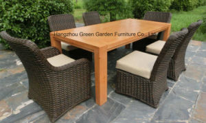 Wicker Furniture Outdoor Dining Table Set with Rattan Chair pictures & photos