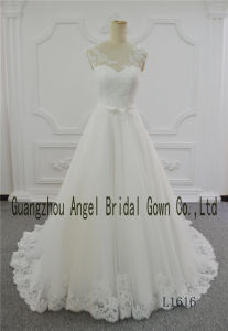 Round Neck Ivory A Line Angel Birdal Gown Wedding Dress pictures & photos