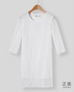 Fashion Charming Pure White Stripe Chiffon Ladies Dress pictures & photos