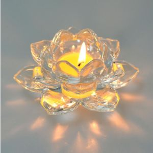 Lotus Tea Light Crystal Glass Candle Holder for Decoration pictures & photos