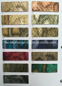 Snake Python Belly Grain Synthetic PU Leather for Shoes Hx-S1715 pictures & photos