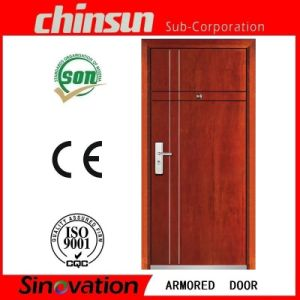 Steel Armored Wooden Door Steel Wood Security Door with Ce Certificate pictures & photos