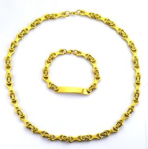 Fashion Gold Plated Steel Bicycle Chain Bracelet Necklace Jewelry Set pictures & photos