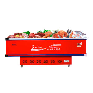 Sliding Door Flat Cabinet Fridge Freezer with Thick Foaming Layer pictures & photos