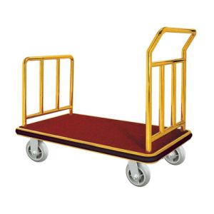 Top Quality Gold Brush Finish Luggage Trolley for Hotel pictures & photos