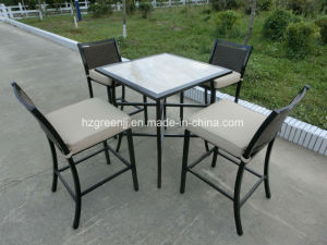 Square Table 5 Pieces Wicker Bar Set Rattan Furniture pictures & photos