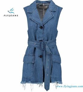 Denim  Blue Jackets Waistcoat for Women with Frayed Hems Flap Pockets pictures & photos