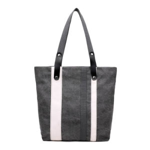 Pinstripe College Style Shopping Bag and Women Handbag pictures & photos